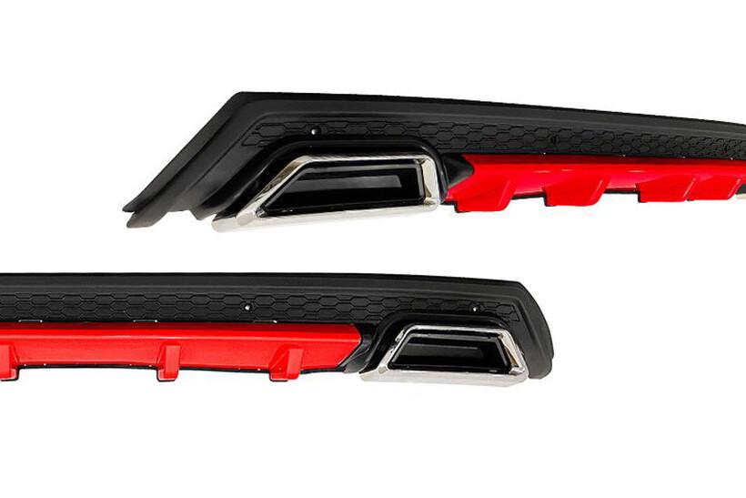 Body Kit » Plastik - Universal Difüzör Elit Plus R 2 Krom Egzoz-Kırmızı/Mat Siyah Abs Plastik