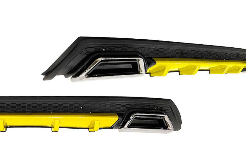 Body Kit » Plastik - Universal Difüzör Elit Plus Y 2 Krom Egzoz-Sarı/Mat Siyah Abs Plastik