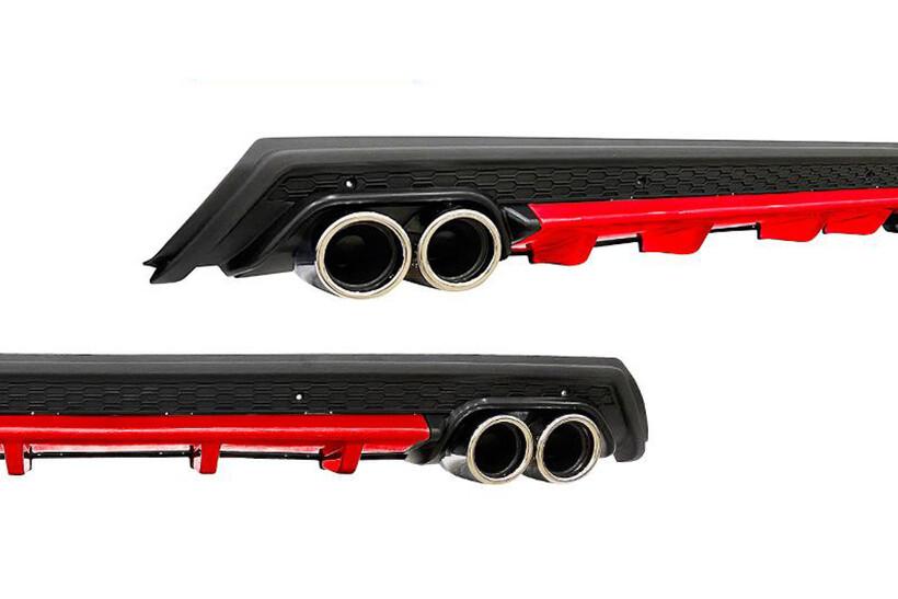 Body Kit » Plastik - Universal Difüzör Elit R 4 Krom Egzoz-Kırmızı/Mat Siyah Abs Plastik