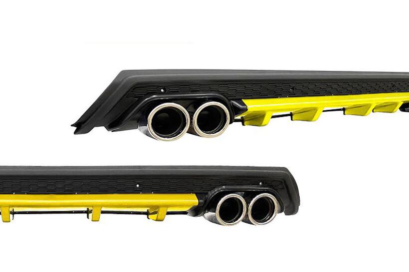 Body Kit » Plastik - Universal Difüzör Elit Y 4 Krom Egzoz-Sarı/Mat Siyah Abs Plastik