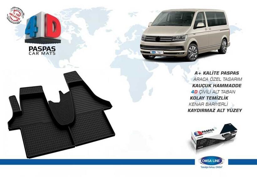 4D Paspas - VW T6.1 Caravelle 4D Havuzlu Paspas Siyah 2020 ve Sonrası