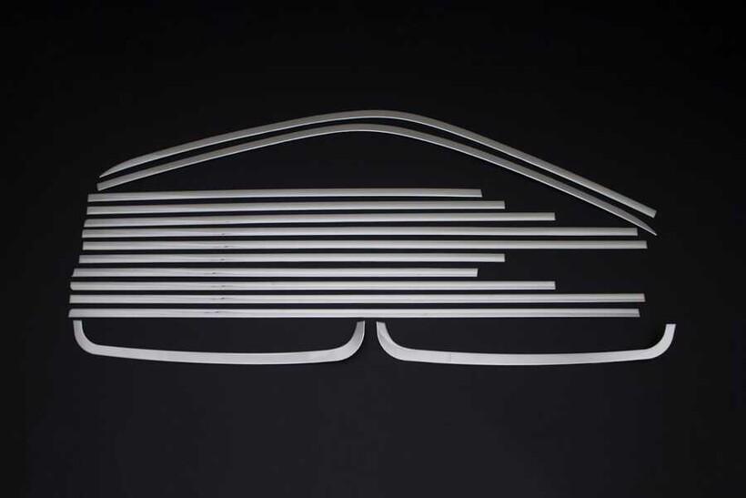 Krom Aksesuar » Omsa - VW T6.1 Krom Cam Çerçevesi 14 Parça Çift Sürgülü 2020 ve Sonrası